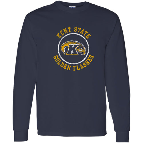 Kent State University Golden Flashes Distressed Circle Logo Long Sleeve T-Shirt - Navy
