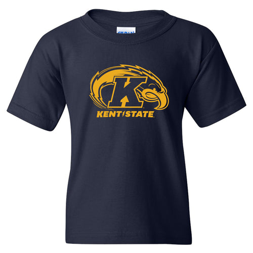 Kent State University Golden Flashes Primary Logo Youth Short Sleeve T Shirt - Navy