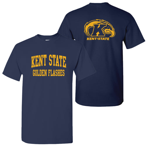 Kent State University Golden Flashes Front Back Print Short Sleeve T Shirt - Navy