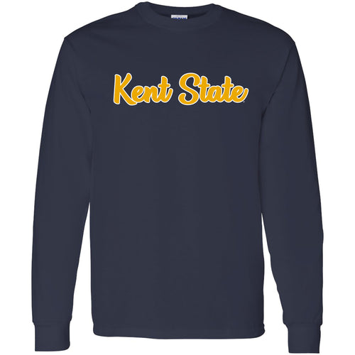 Kent State University Golden Flashes Basic Script Cotton Long Sleeve T Shirt - Navy