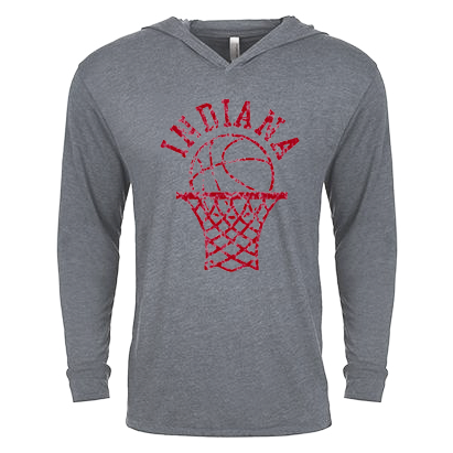 Indiana University Retro Bball Hoop Long Sleeve Hood - Deep Heather