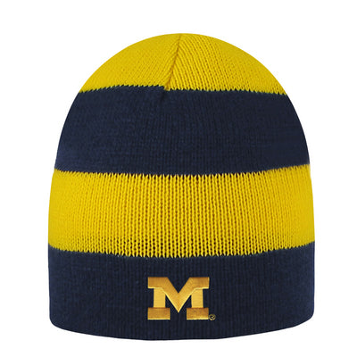 UM Columbia Striped Beanie - Navy/Maize