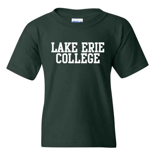 Lake Erie College Storm Basic Block Youth Short Sleeve T Shirt - Forest