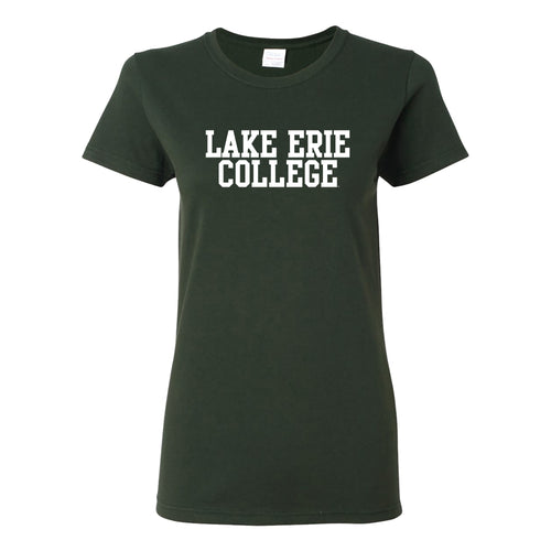 Lake Erie College Storm Basic Block Womens Short Sleeve T Shirt - Forest