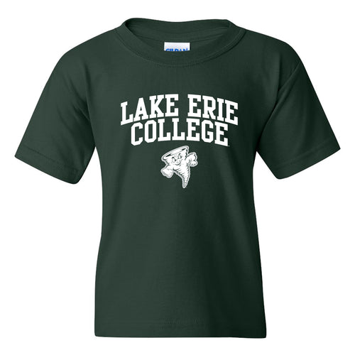 Lake Erie College Storm Arch Logo Youth T Shirt - Forest