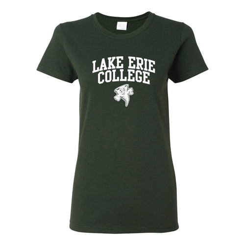 Lake Erie College Storm Arch Logo Womens Short Sleeve T Shirt - Forest