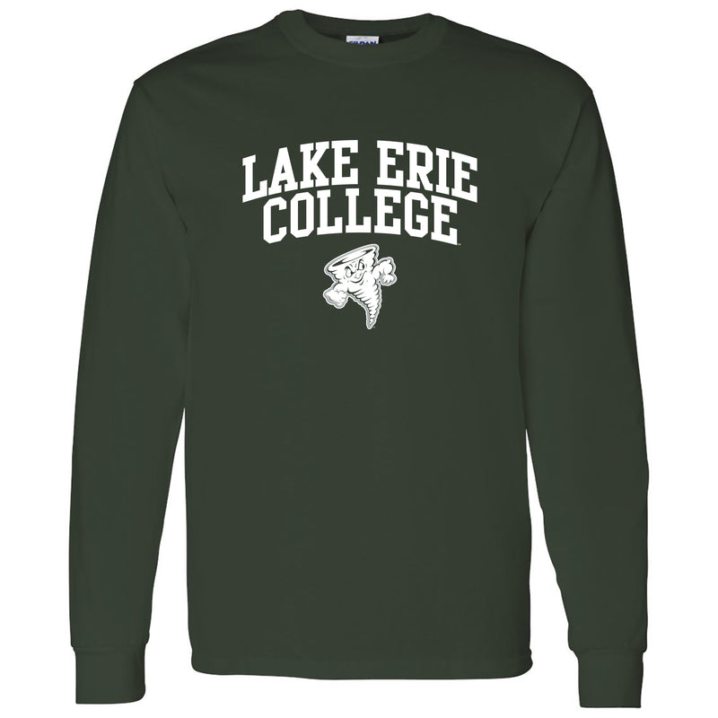 Lake Erie College Storm Arch Logo Long Sleeve T Shirt - Forest