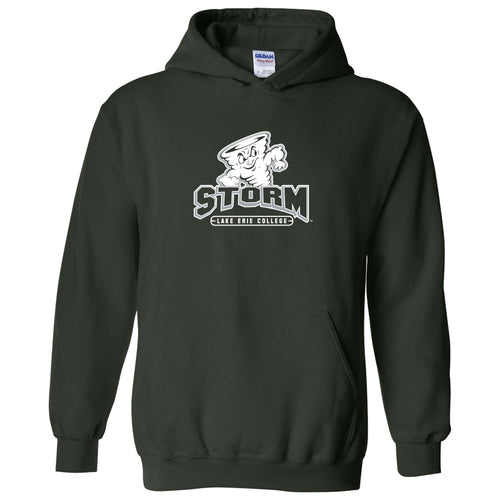 Lake Erie College Storm Primary Logo Heavy Blend Hoodie - Forest