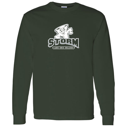 Lake Erie College Storm Primary Logo Long Sleeve T Shirt - Forest