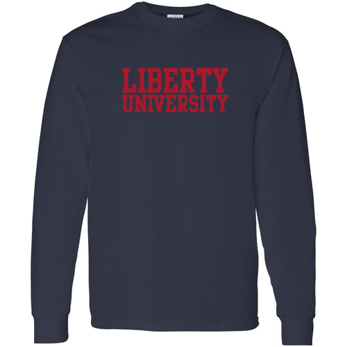 Liberty University Flames Basic Block Long Sleeve T Shirt - Navy
