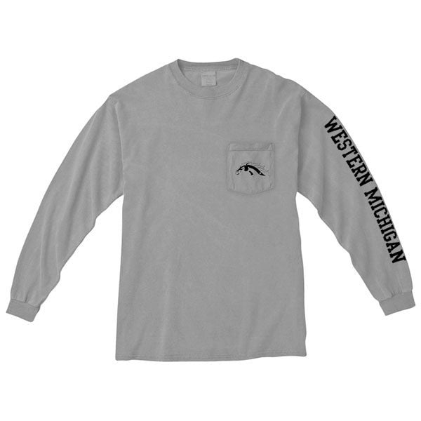 Western Michigan Long Sleeve Pocket Tee - Granite