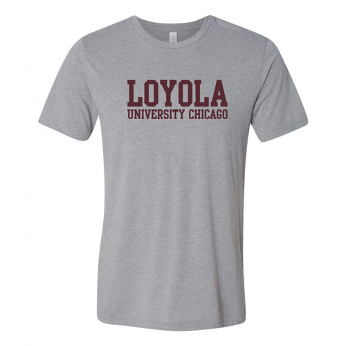 Loyola University Chicago Ramblers Basic Block Canvas Triblend Short Sleeve T Shirt - Athletic Grey Triblend