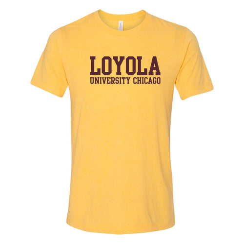 Loyola University Chicago Ramblers Basic Block Canvas Triblend Short Sleeve T Shirt - Yellow Gold Tribelnd