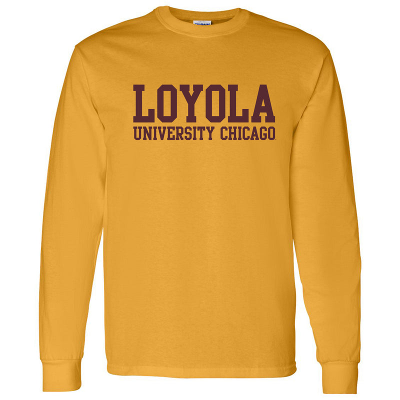 Loyola University Chicago Ramblers Basic Block Long Sleeve T Shirt - Gold