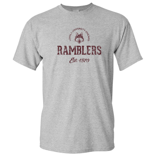 Loyola University Chicago Ramblers Established Arch Short Sleeve T Shirt - Sport Grey