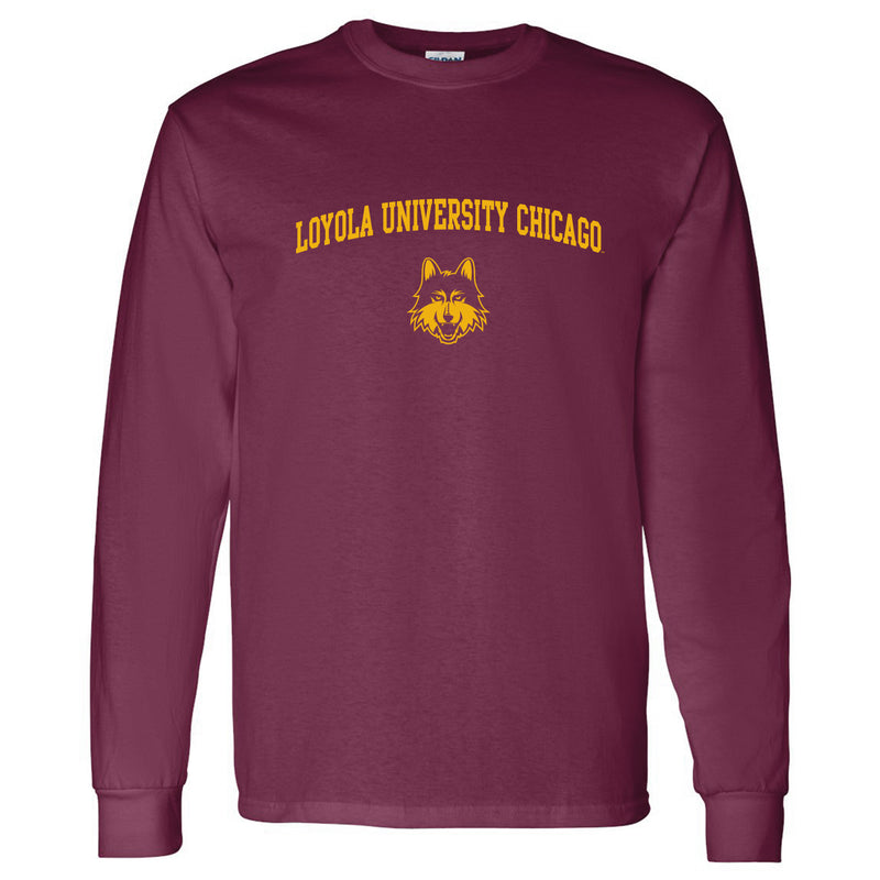 Loyola University Chicago Ramblers Arch Logo Long Sleeve T Shirt - Maroon