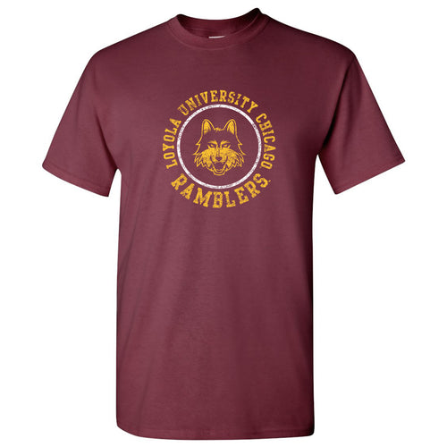Loyola University Chicago Ramblers Distressed Circle Logo Short Sleeve T Shirt - Maroon