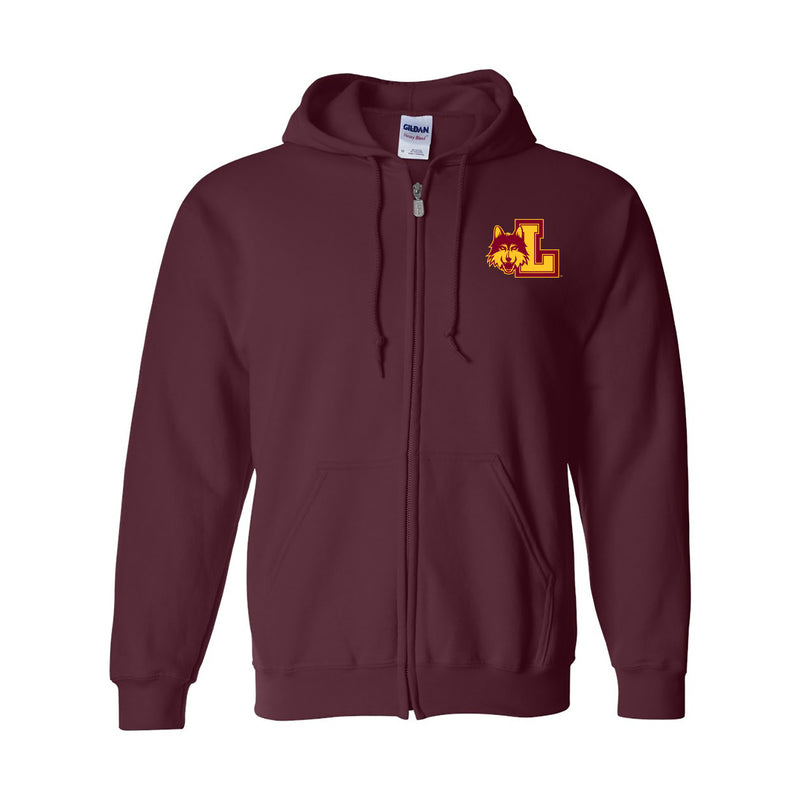Loyola University Chicago Rambler Left Chest Logo Full Zip Hoodie - Maroon