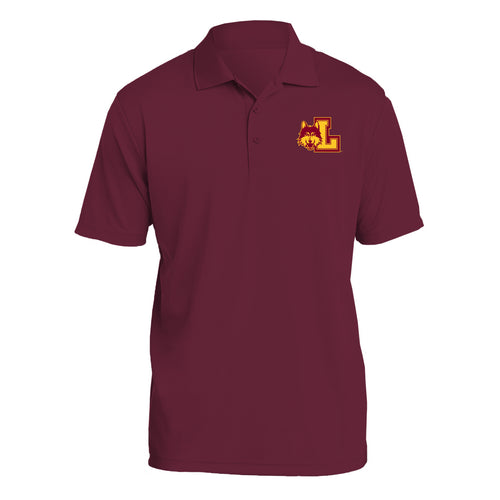 Loyola University Chicago Rambler Left Chest Logo Short Sleeve Polo - Maroon