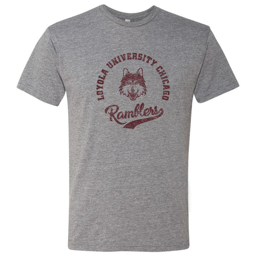 Loyola University Chicago Ramblers Retro Script Next Level Short Sleeve T Shirt - Premium Heather