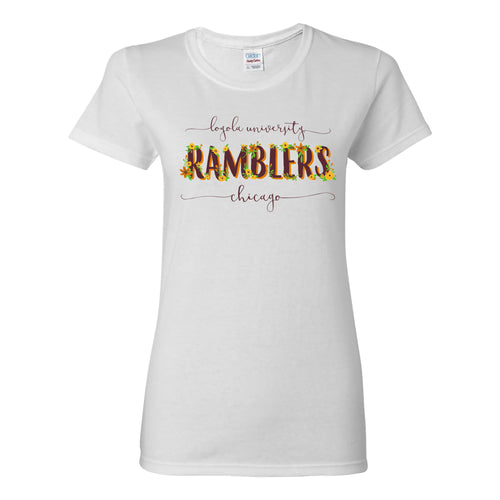 Loyola University Chicago Ramblers Floral Womens Short Sleeve T Shirt - White