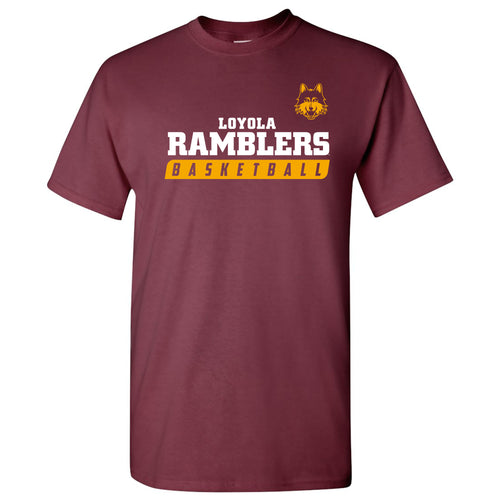 Loyola University Chicago Ramblers Basketball Slant T Shirt - Maroon