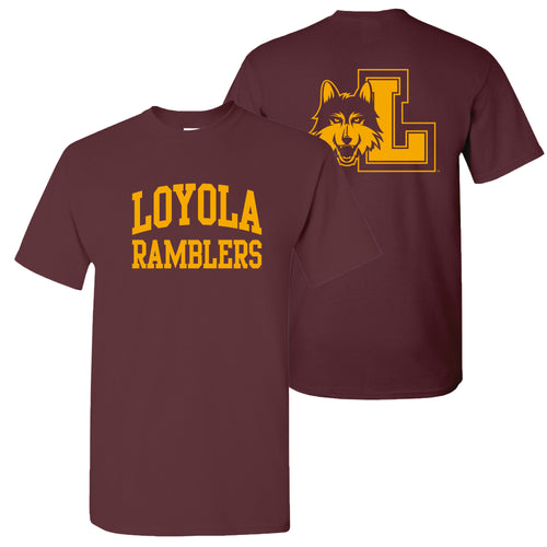 Loyola University Chicago Ramblers Front Back Print Short Sleeve T Shirt - Maroon