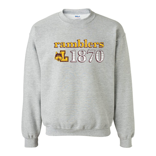 Loyola University Chicago Ramblers Throwback Year Stripe Heavy Blend Crewneck - Sport Grey