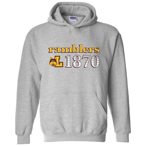 Loyola University Chicago Ramblers Throwback Year Stripe Heavy Blend Hoodie - Sport Grey