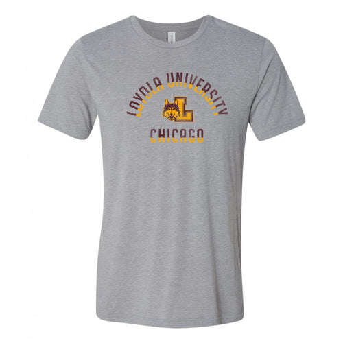 Loyola University Chicago Ramblers Division Arch Canvas Triblend Short Sleeve T Shirt - Athletic Grey