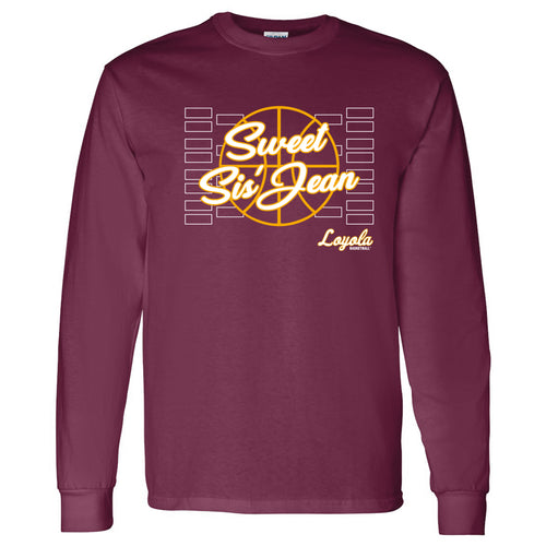 Loyola Chicago Ramblers Sweet Sis Jean Cotton Long Sleeve T Shirt - Maroon