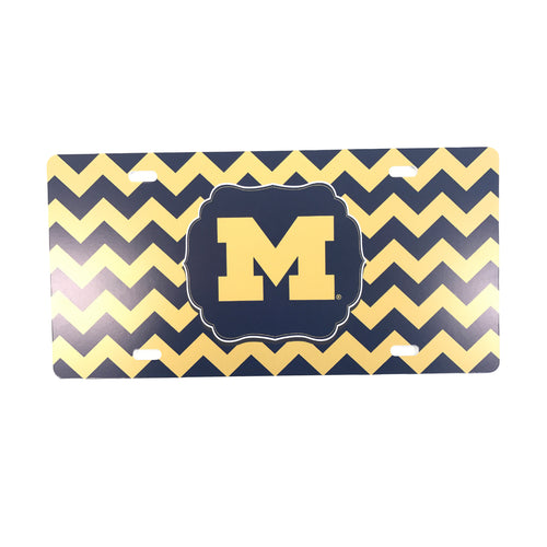 Block M University of Michigan License Plate – Chevron - Navy/Maize
