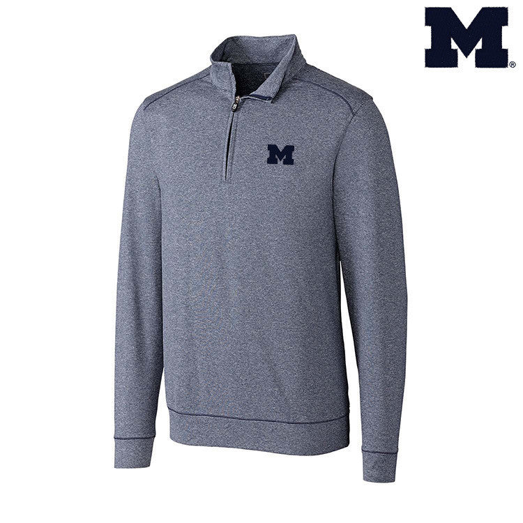 University of Michigan Cutter & Buck Shoreline Half Zip - Navy