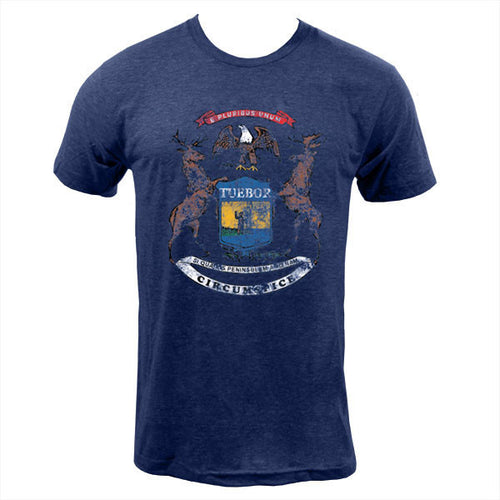 State of Michigan Flag American Apparel Short Sleeve T Shirt - Tri-Indigo