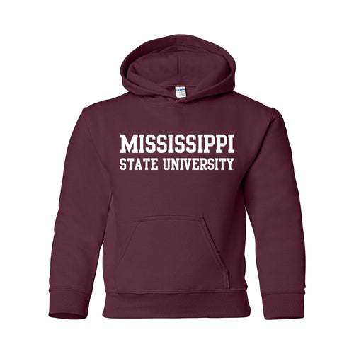 Mississippi State University Bulldogs Basic Block Youth Hoodie - Maroon