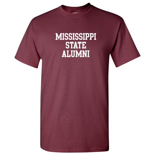 Mississippi State University Bulldogs Basic Block Alumni Short Sleeve T Shirt - Maroon