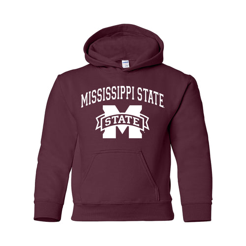 Mississippi State University Bulldogs Arch Logo Youth Hoodie - Maroon
