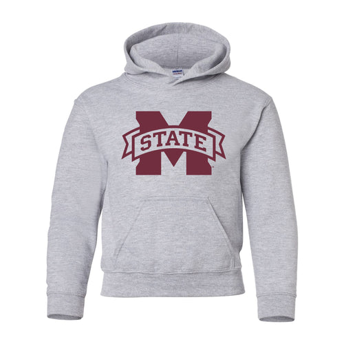Mississippi State Primary Logo Youth Hoodie - Sport Grey
