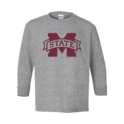 Mississippi State University Bulldogs M-State Logo Youth Long Sleeve T Shirt - Sport Grey