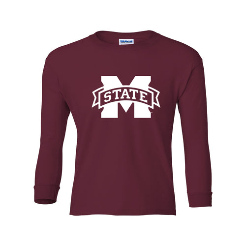 Mississippi State Primary Logo Youth Long Sleeve - Maroon