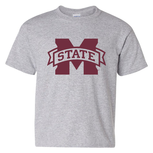 Mississippi State University Bulldogs M-State Logo Youth Short Sleeve T Shirt - Sport Grey