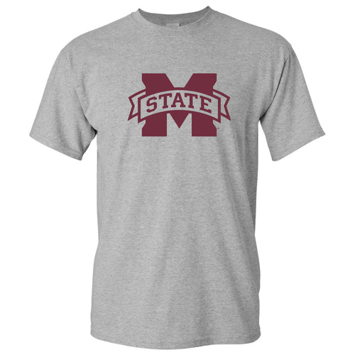 Mississippi State University Bulldogs M-State Logo Short Sleeve T Shirt - Sport Grey
