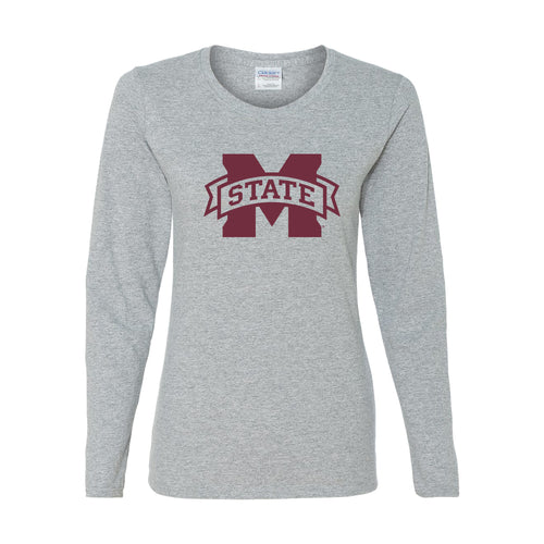 Mississippi State University Bulldogs M-State Logo Womens Long Sleeve T Shirt - Sport Grey