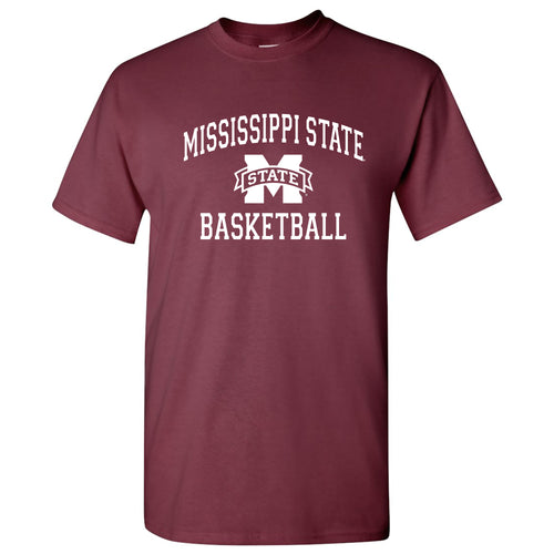 Mississippi State University Bulldogs Arch Logo Basketball Short Sleeve T Shirt - Maroon