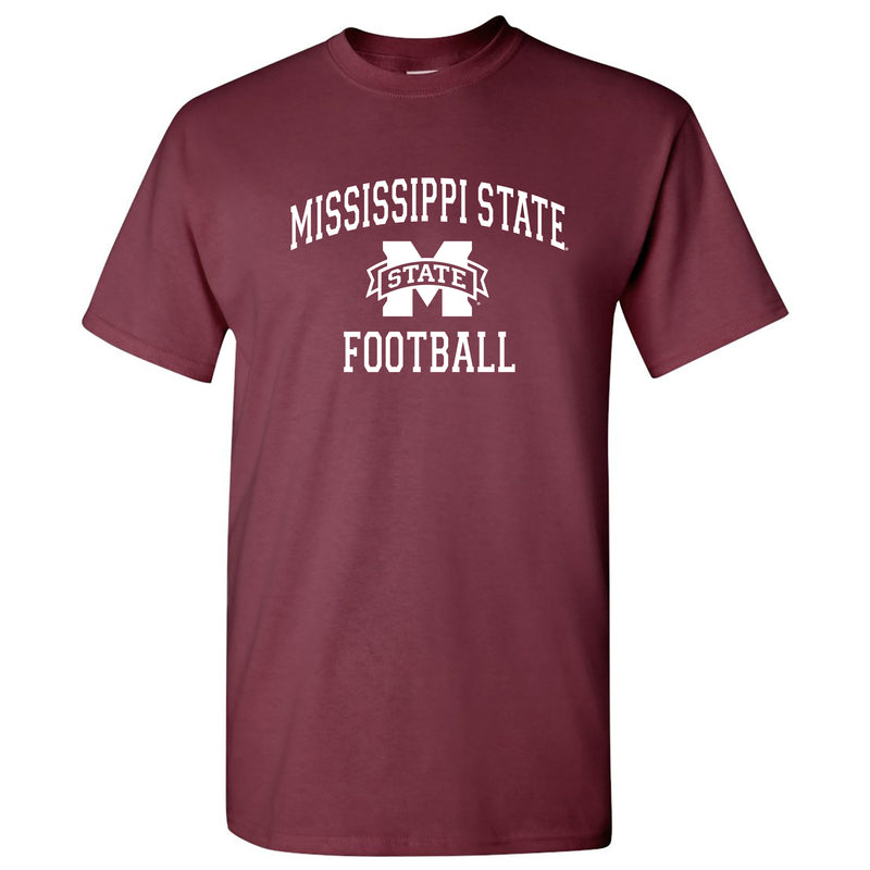 Mississippi State University Bulldogs Arch Logo Football Short Sleeve T Shirt - Maroon