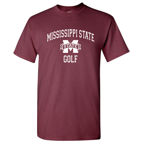 Arch Logo Golf Mississippi State Bulldogs Basic Cotton Short Sleeve T Shirt - Maroon
