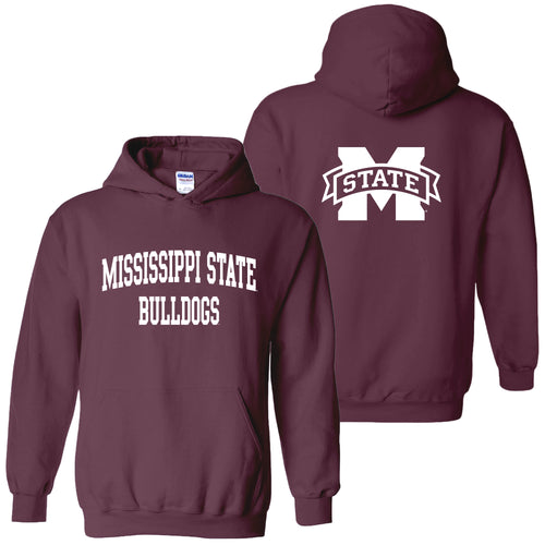 Mississippi State University Bulldogs Front Back Print Hoodie - Maroon