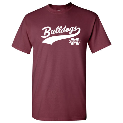 Mississippi State University Bulldogs Baseball Jersey Script Short Sleeve T-Shirt - Maroon