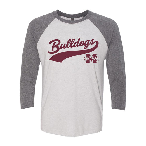 Mississippi State University Bulldogs Baseball Jersey Script Next Level Raglan - Heather White/Premium Heather