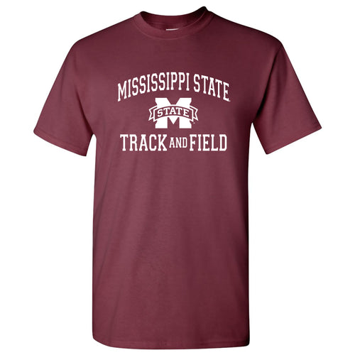 Mississippi State University Bulldogs Arch Logo Track & Field Short Sleeve T Shirt - Maroon